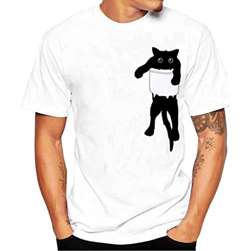 Yvelands Cute Cat Printing Tees Shirt Hombres Moda Informal O-Cuello Slim WhiteT-Shirts Blusa Manga Corta Tops Vacaciones Playa Verano, Liquidación Barato! (Blanco, S)