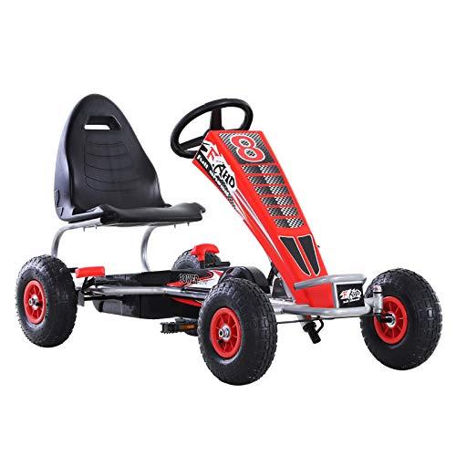 HOMCOM Go Kart Kinderfahrzeug Mit Pedal Sitz verstellbar Gummireifen Metall Rot 129 x 59 x 70 cm