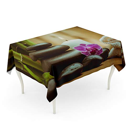 Tarolo Rectangle Tablecloth 52 x 70 Inch Green Ayurveda Spa Zen Basalt Stones and Orchid Pink Massage Life Balance Towel Candle Table Cloth