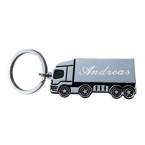 Schlüsselanhänger LKW/Laster mit Gravur Vorname oder Datum Metall-silber poliert