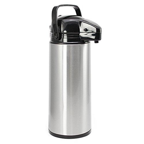 com-four® 1,9L Isolier-Pumpkanne - 1,9 Liter Airpot aus Edelstahl mit Glaseinsatz - Hochwertige Thermoskanne mit Pumpmechanismus (01 Stück - 1.9 Liter)