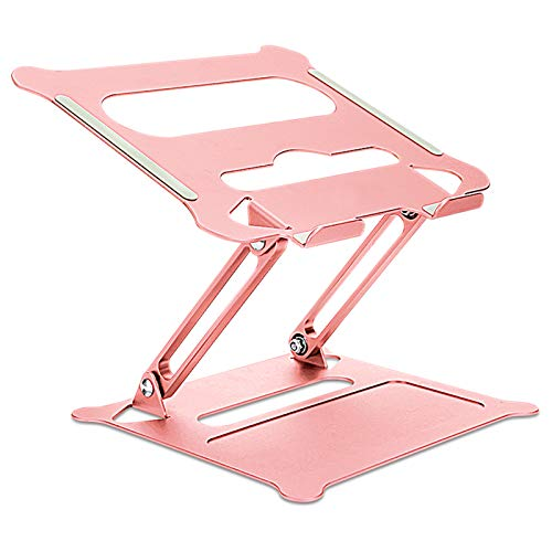 """Laptop Stand, Adjustable Riser with Slide-Proof Silicone and Protective Hooks, Ergonomic Aluminum Notebook Holder Compatible with MacBook Air Pro, Dell, HP, Lenovo More 10-15.6"""" Laptops(Rose Gold)"""