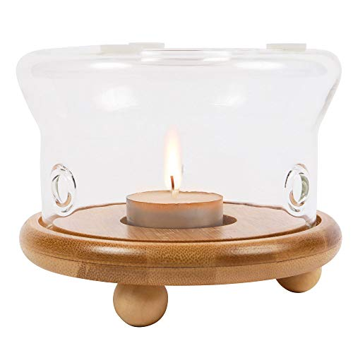 ORNAMI Heat-Resistant Borosilicate Glass Teapot Warmer for Loose Tea Steeping, Tealight Warmer with Natural Bamboo Wooden Base