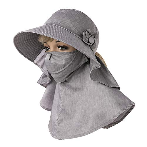 YuanYu Sombrero - Visera de Verano para Mujer Ciclismo al Aire Libre Cubierta Cuello para Cara Sombrero para el Sol Protección UV Sombrero para el Sol Máscara Desmontable (2 Colores) Sombrero