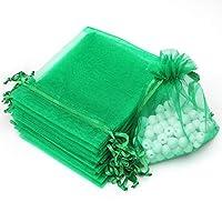 Akstore 100個4x 6インチ10x 15cm巾着オーガンザジュエリーFavorポーチウェディングパーティー祭ギフトバッグキャンディバッグ グリーン COMINHKG119063