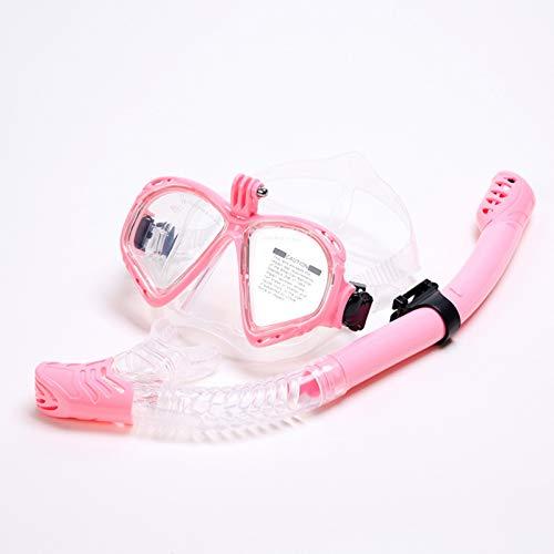 Equipo de Snorkel Adultos, máscara de Buceo, máscara de Gafas de natación de Buceo con Soporte para cámara Juego de Snorkel seco, (Rosa)