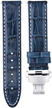 22mm Premium Leather Watch Strap Band Compatible with 41.5mm Omega Speedmaster 57 Blue Ws