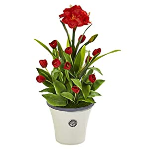 Nearly Natural 39in. Amaryllis and Tulip Artificial Decorative Planter Silk Plants, Red