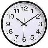 HOSTON Reloj de Pared Grande de diseño Moderno de 30 cm, Reloj de Pared silencioso Digital con Pilas, Utilizado en la Sala de Estar, la Cocina, la habitación de los niños (En Blanco y Negro)