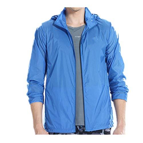 N\P Chaqueta de protección solar para hombre, de secado rápido, transpirable, impermeable, con capucha, para hombre, delgado, color sólido, con cremallera, anti-UV Outwear