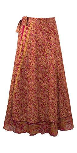 Coline Jupe Longue portefeuillle imprimé Ethnique Polyester Indienne Jupe Femme, Hippie Bohème,Jupe d'été (Rouge, Taille Unique)