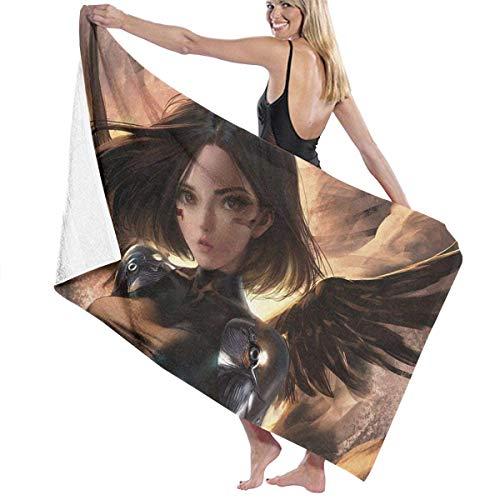 PAMPHLET Alita Battle Angel Wings Toalla de baño de microfibra, súper suave, grande, gran tamaño, impresión de hojas de playa, toalla para baño, ducha de 32 x 52 pulgadas