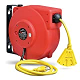 ReelWorks - CR605131S3A Extension Cord Reel Retractable 12AWG x 40' Foot 3C/SJT Cable Triple Tap Connector Power Rating 15A 125VAC 1875W