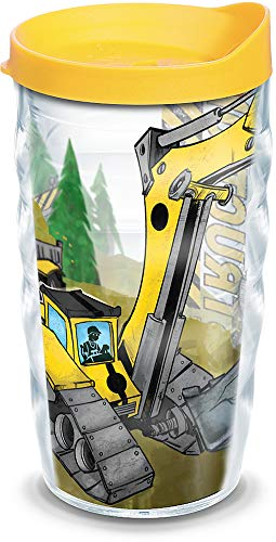 Tervis Construction Trucks Insulated Tumbler with Wrap and Yellow Lid, 10oz Wavy, Clear