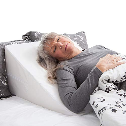 DMI Wedge Pillow to Support and Elevate Neck Head and Back for Acid Reflux or Feet and Legs to Reduce Back Pain and Improve Circulation with Removable Cover White 24x24x12 Inch