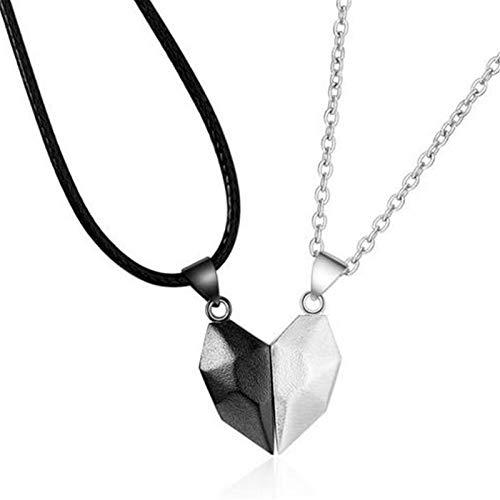 FENGCHUANG Collar de Pareja, corazón Que desee el Collar del Amor de la Piedra, Costura Collar de imán de corazón Creativo para Parejas, Conjunto de Regalos para Mujeres Hombres