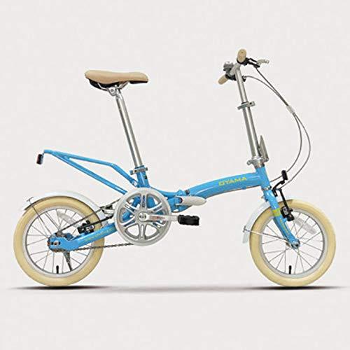 14 pulgadas plegable bicicleta marco de acero frontal tenedor aleación de aluminio v freno niños estudiantes niños bicicletas blanco polvo azul tres colores opcional,Azul