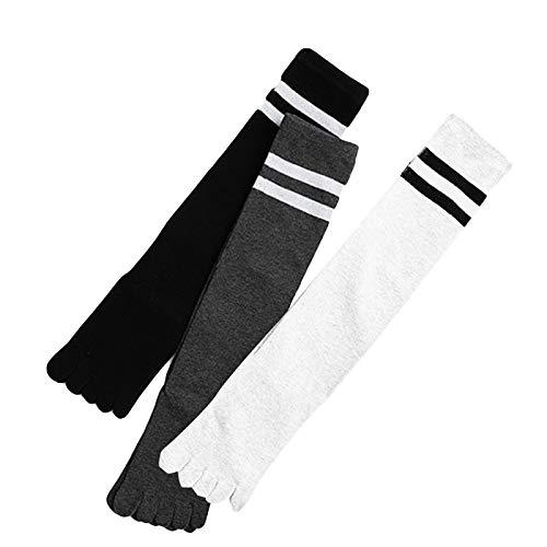 ROSEBEAR 3 Pair Women Toe Socks, Five Finger Cotton Socks Breathable Striped...