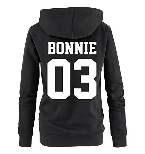 Comedy Shirts - Bonnie 03 - Damen Hoodie - Schwarz/Weiss - Gr. M