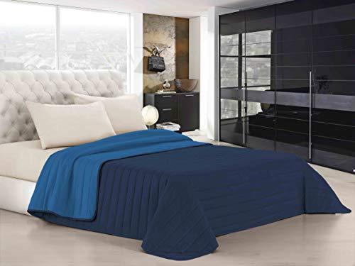 Italian Bed Linen Elegant Trapuntino Estivo, Microfibra, Blu Scuro/Royal, A Una Piazza e Mezza, 220 x 270 cm