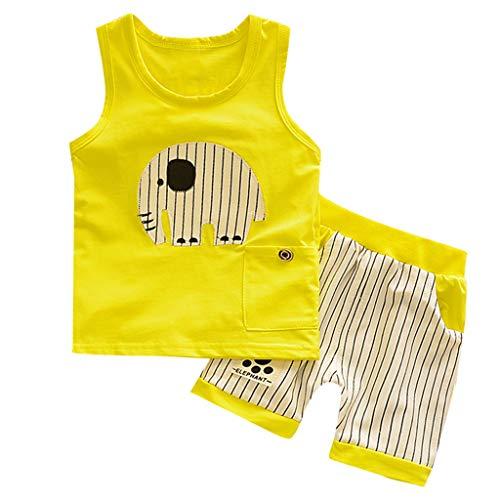 BUKINIE 2PCs Ensembles Bébé Garçons Coton sans Manches T-Shirt Gilet + Shorts Pantalon Court Tenues Éléphant Imprimé D'été Pyjamas Tenues Vêtements(Jaune,2-3 Ans)