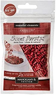 Candle-Lite Essential Elements Clean & Natural Scent Bursts Paper Warmer Refills Lasts 2X Longer Than Wax (Mahogany & Vetiver 4 Pack)
