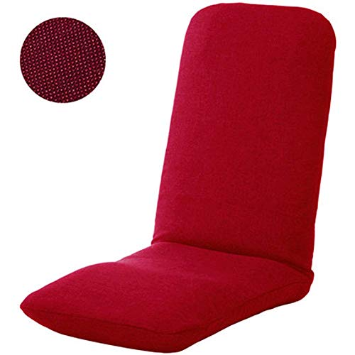 YLCJ Floor Chair Adjustable 5-Angle Padded Floor Game Seat Back Support Floor Reclining Folding Chair for Meditation Reading Viewing-Red