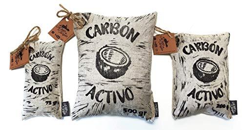 Adsorbente Natural de Olores y Humedades - Saquitos de Carbón Activo (elimina malos olores y humedad en el Hogar, Vehículos, Mascotas.)