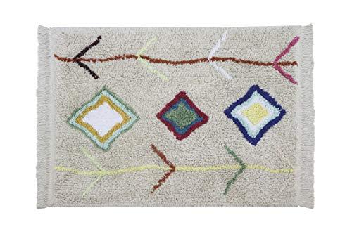 Lorena Canals - Alfombra Lavable para habitación de niños. MiniOnes Kaarol en Color Natural y Multicolor - Hecho a Mano en Forma Rectangular y con Algodón Natural y Tintes Ecológicos-Tamaño:70x100cm
