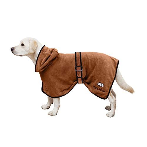 Bella & Balu Albornoz para Perro M de Microfibra Absorbente – Toalla para Perros para Secado Tras el baño o el Paseo bajo la Lluvia (6 Tallas - 3 Colores)