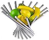 Canasta de Frutas Plegable de Acero Inoxidable para de la Encimera de la Cocina, Creativo Tazón de Fruta de Metal Antioxidante/Decoración de la Mesa, Plata Naranja Plátano Manzana Fruta Plato