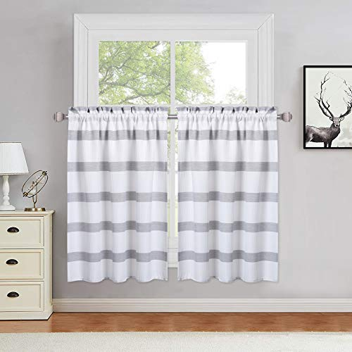 Haperlare Kitchen Curtains 36 Inches Long, Classic Farmhouse Waffle Weave Textured Bathroom Window Curtain, Yarn Dyed Striped Design Cafe Curtains Small Half Window Treatment Set, Grey, Set of 2