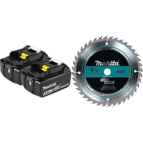 Makita BL1830B-2 18V LXT Lithium-Ion 3.0Ah Battery & T-01410 40T Fine Crosscutting Carbide-Tipped Saw Blade, 6-1/2