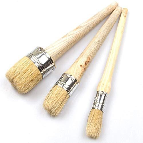 3-teiliges Pinsel-Set für Farben und Wachs von LANIAKEA, natürliche Borsten, runde Pinsel für Möbel, Heimdekoration, Wachsen, Lasieren von Töpferwaren (20, 30 und 50 mm)