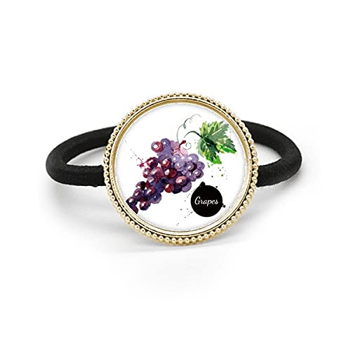 Corbata de pelo sana sabrosa del metal de la plata de la acuarela de la fruta de las uvas y tocado de