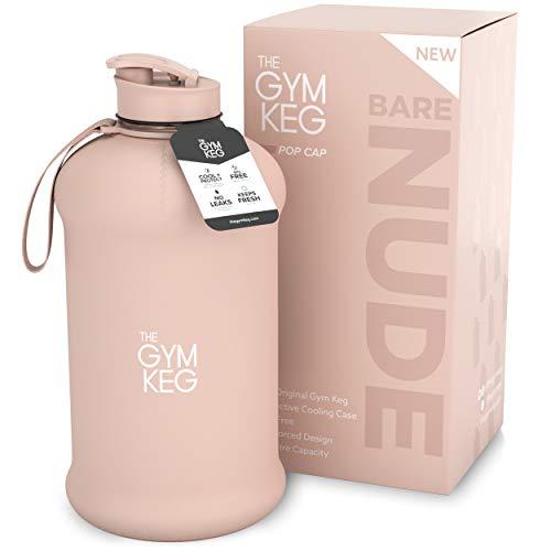 The Gym Keg + Exclusive Sleeve diseño 2018 - Culturismo Botella de Agua para Gimnasio - Botella de Agua Duradera y Resistente de 2.2 litros - BPA Grandes Botellas de Agua para Deportes de Medi