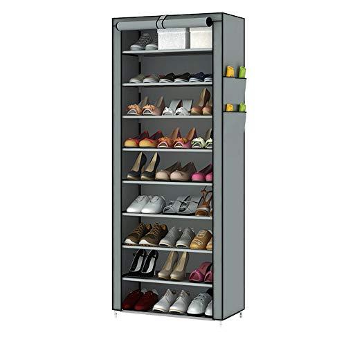 TUKAILAI - Zapatero de 10 Niveles con Cubierta para hasta 30 Pares de Zapatos, Zapatero, Organizador de Almacenamiento 60 x 30 x 160 cm Gris