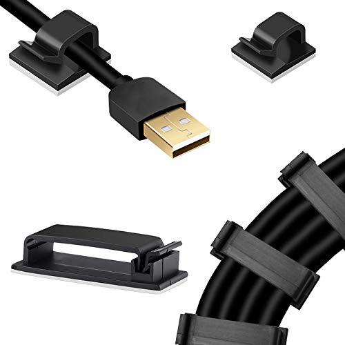 Kabelklemmen Selbstklebend Set 20-teilige Kabelhalterclips und 40-Teilige USB-Kabelführungsclips Nylon-Schwarzkabel-Kabelklemmen für Wände, Böden, Schreibtische, Schränke