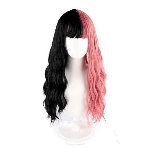 ATRNA Pelucas Onduladas Largas, Pelucas Mujer Pelo Natural Largo Cosplay Parte Halloween Pelucas Sintética Wavy Wigs