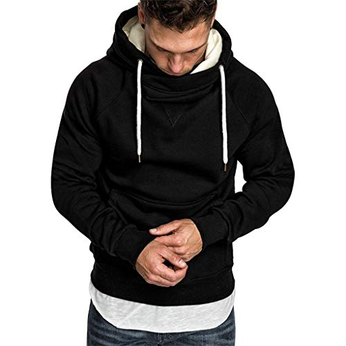 FRAUIT Männer Sweatshirt Langarm Herbst Winter Herren Kapuzenpullover | Sale | Casual Sweatshirt Hoodies Top Bluse Trainingsanzüge (XL, T-Schwarz)