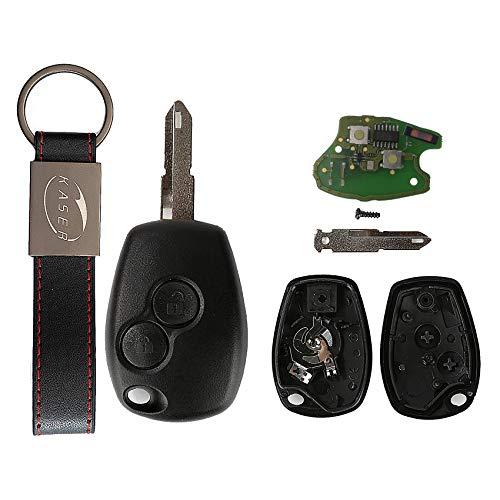 KASER Llave Mando Coche Electrónica 2 Botones Compatible para Renault Megane Scenic Laguna Koleos Clio (433MHZ ID46 PCF7946 Chip) Hoja 206 Transponder Listo para Programar