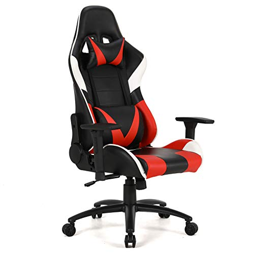 Teraves Gaming Chair High-Back PU Leather Computer Desk Chair Racing Style Ergonomic Office Chair with Headrest and Lumbar Support