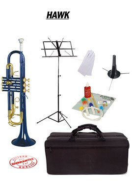 Hawk Blue Bb Trumpet School Package with Case Music Stand Trumpet Stand and Cleaning Kit WD-T314-BL-PACK