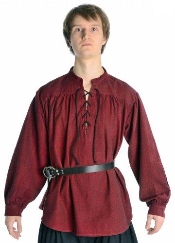 Hemad Camisa de algodón Medieval para Hombres - Cuello Alto y Cordones Delanteros – L Rojo Oscuro