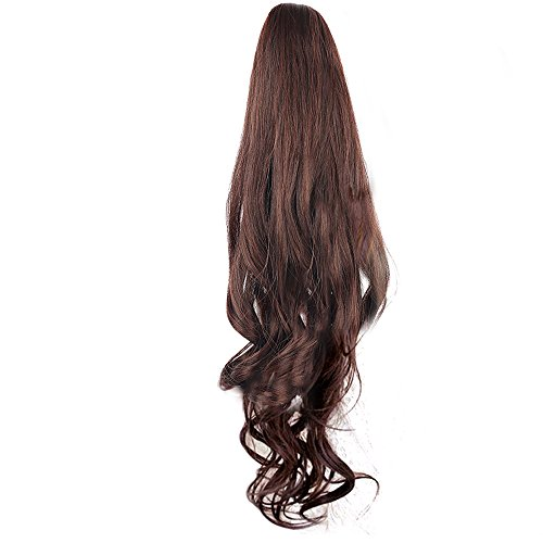 Vococal® Mesdames Clip Pince Vague Bouclés Cheveux Extensions Perruques Longue Queue de Cheval Postiches 55cm Brun Foncé
