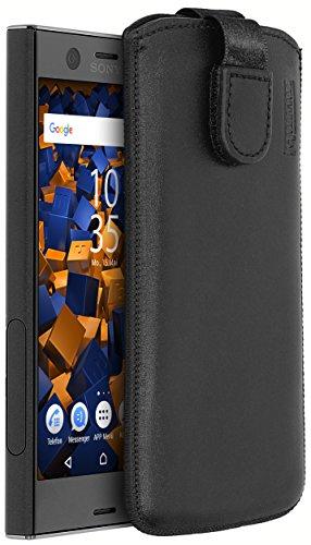 mumbi Echt Ledertasche kompatibel mit Sony Xperia XZ1 Compact Hülle Leder Tasche Hülle Wallet, schwarz