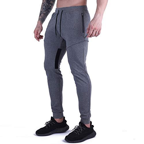 LY4U Pantalones Deportivos para Hombre Pantalones de chándal de chándal Pantalones de Gimnasia de Entrenamiento Causal Bolsillos con Cremallera