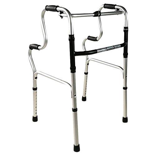 Mobiclinic Gehhilfe für Senioren, Gehgestell, Gehbock ohne Räder, verstellbar und faltbar, Aluminium, Modell Portico