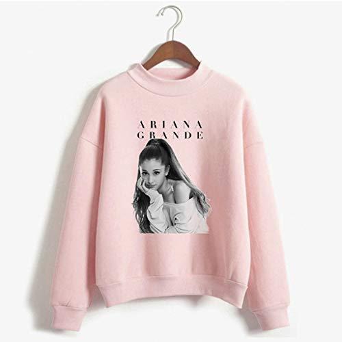 Xdsy Ariana Grande Langärmliges bequemes Sweatshirt mit Rundhalsausschnitt und schmaler Passform,pink-2,S