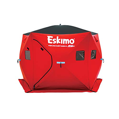 Eskimo 24105 Quickfish 5i Insulated Pop-Up Portable Hub-Style Ice Fishing Shelter, 4 Person, Extra Tall 84 Inches Tall, red
